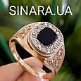 Классическая мужская золотая печатка с черным камнем- Классическое роскошное мужское золотое кольцо, фото 4