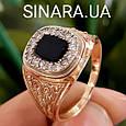 Классическая мужская золотая печатка с черным камнем- Классическое роскошное мужское золотое кольцо, фото 3