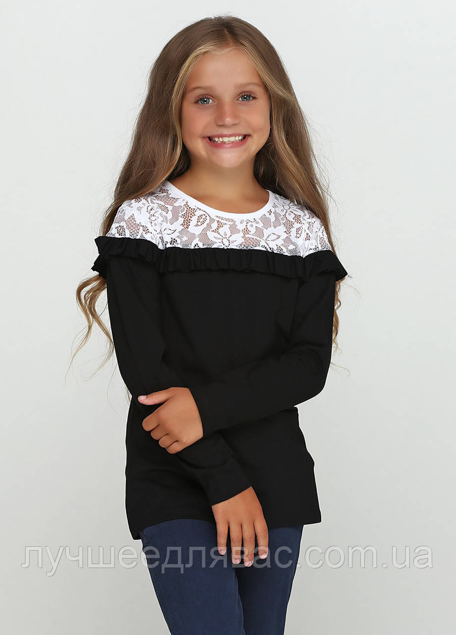 Блуза комбинированная белая  с черным, фото 1