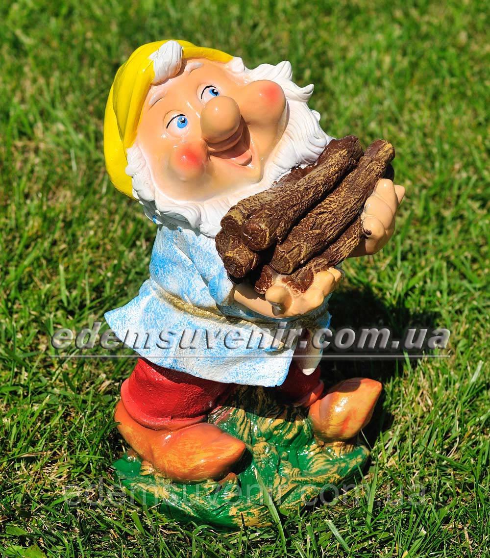Садовая фигура Гном дровосек малый