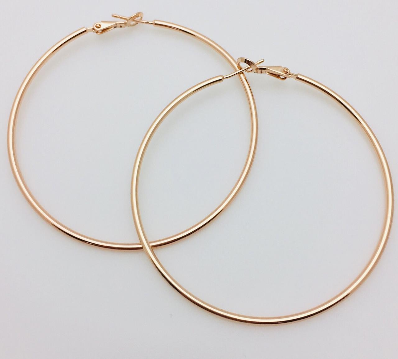 Серьги кольца Fallon 65 мм, позолота 18К