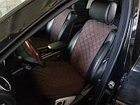 Комплект накидок на передние и задние  сидения темно-коричневые из алькантары (с ушками)