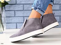 Ботинки женские серые замшевые