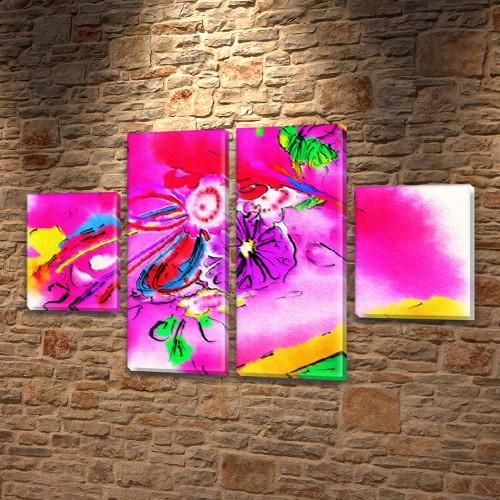 Модульная картина Розовое настроение  на Холсте, 80x130 см, (40x30-2/80х30-2)