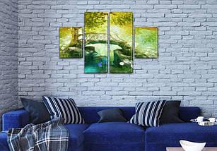 Модульная картина Мостик к дереву  купить украина на Холсте, 80x130 см, (40x30-2/80х30-2), фото 3