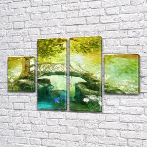 Модульная картина Мостик к дереву  купить украина на Холсте, 80x130 см, (40x30-2/80х30-2)