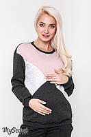 Ультрамодный теплый свитшот для беременных и кормления CAT WARM, антрацитовый*, фото 1