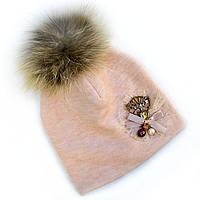 Зимняя шапка для девочки с меховым помпоном., фото 1