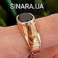 Стильное мужское золотое кольцо с черным камнем - Мужской золотой перстень с черным фианитом, фото 3