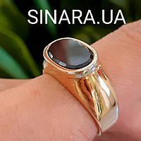 41cc8d45867e Стильное мужское золотое кольцо с черным камнем - Мужской золотой перстень  с черным фианитом