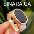 Стильное мужское золотое кольцо с черным камнем - Мужской золотой перстень с черным фианитом, фото 4