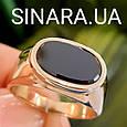 Стильное мужское золотое кольцо с черным камнем - Мужской золотой перстень с черным фианитом, фото 2