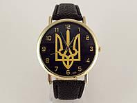 Часы с Гербом Украины золотистые на черном ремешке