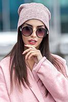 Жіноча шапка з ангори пудра 013