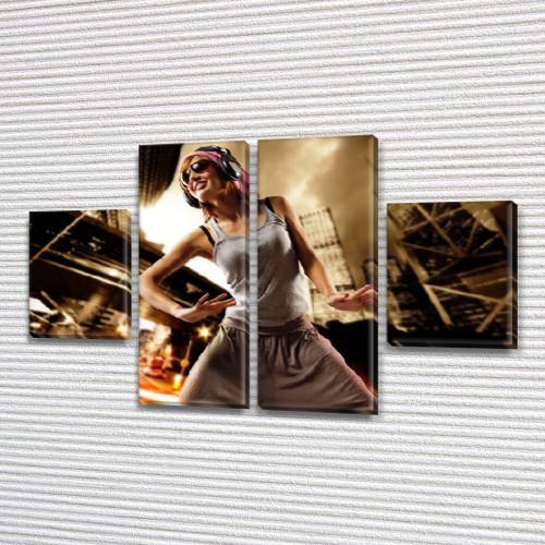 Модульная картина В ритме танца  на Холсте, 80x130 см, (40x30-2/80х30-2)