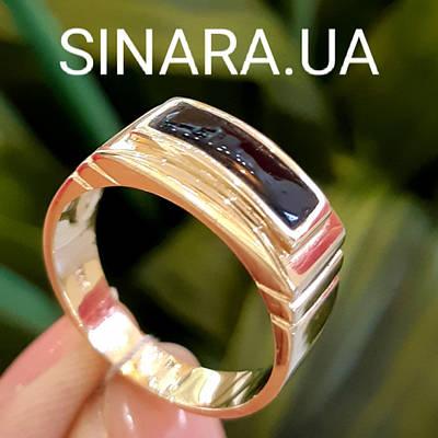 Мужское кольцо из лимонного золота с ониксом - Мужское кольцо с ониксом желтое золото