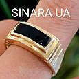 Мужское кольцо из лимонного золота с ониксом - Мужское кольцо с ониксом желтое золото, фото 2