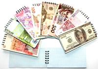 """Блокнот """"Банкнота"""", формат А6 в мягкой картонной обложке на спирале, 80 листов"""