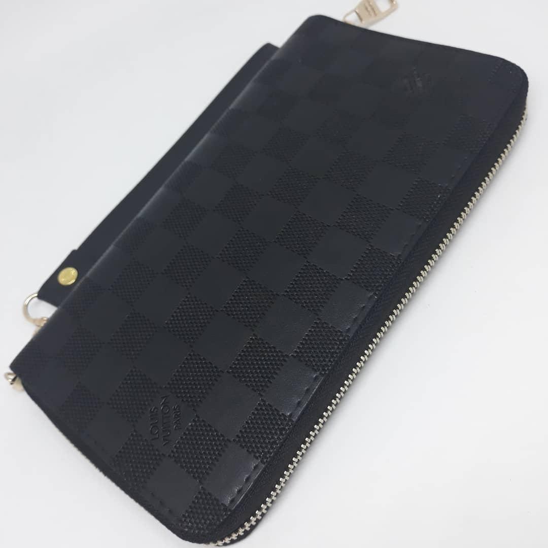 de0cff3d9a35 Портмоне клатч бумажник кошелек мужской кожаный. Гаманець шкіряний чорний Louis  Vuitton