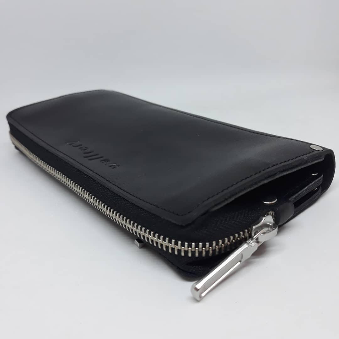 Портмоне клатч бумажник кошелек мужской  ручной работы  кожаный. Гаманець шкіряний чорний