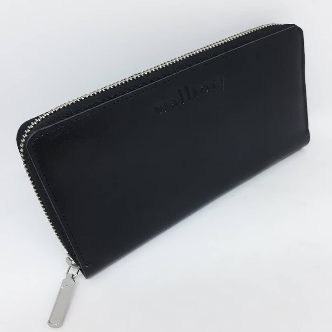Портмоне клатч бумажник кошелек Walltory мужской  ручной работы  кожаный. Гаманець шкіряний чорний