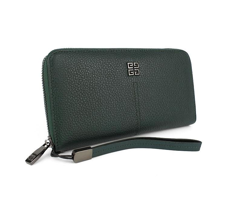 Кошелек кожаный женский на молнии зеленый Givenchy 6288