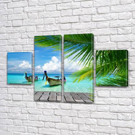 Модульные картины в спальню на Холсте, 80x130 см, (40x30-2/80х30-2), фото 2