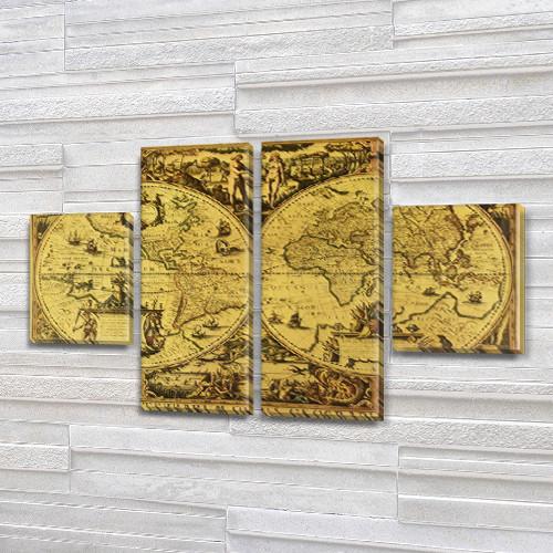 Модульная картина Карта древности   на Холсте, 80x130 см, (40x30-2/80х30-2)