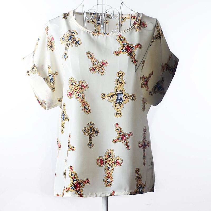 """Блузка с коротким рукавом """"кресты"""" белая Liva Girl"""