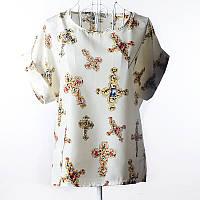 """Блуза с коротким рукавом """"кресты"""" белая Liva Girl"""