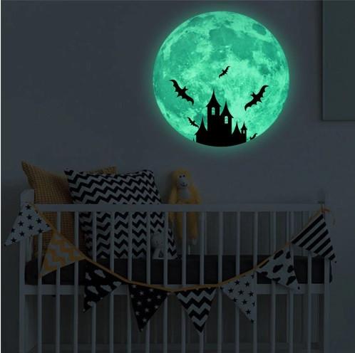 """Люминесцентная наклейка для Хэллоуина """"Луна"""" - диаметр 30см, (набирает свет и светится в темноте)"""