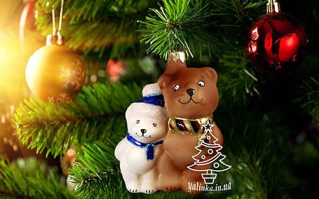Стеклянная елочная игрушка Два медвежонка ЛВ 1899, фото 2