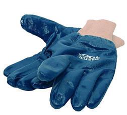 """Перчатки масло-бензостойкие утепленные нитрил. вязаный манжет (синие) 10,5"""" MasterTool 83-0406-В, фото 3"""