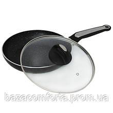 Сковорода 24см с мраморным покрытием и крышкой Kamille 4264MR