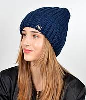 Молодежная шапка на флисе 3377 Синий
