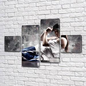 Модульные картины в спальню на ПВХ ткани, 70x110 см, (25x25-2/65х25-2)