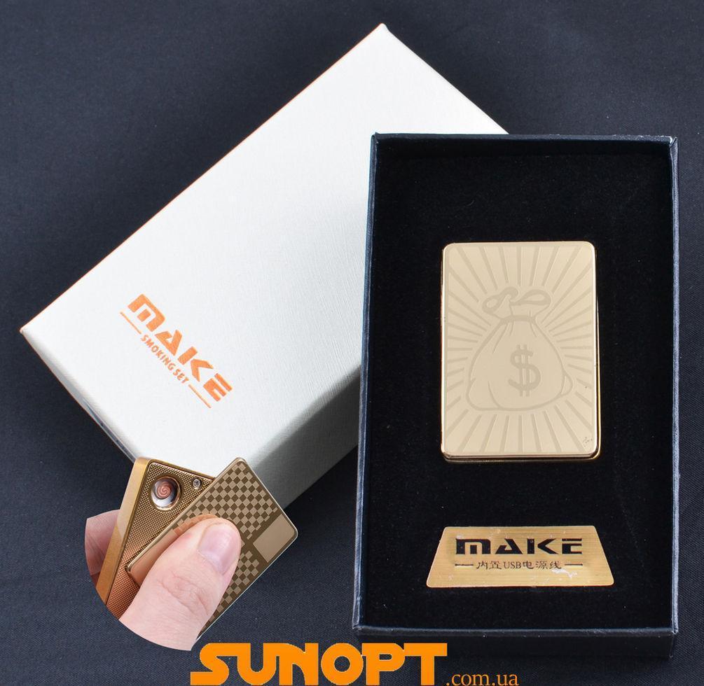 USB зажигалка-слайдер в подарочной упаковке MAKE (Спираль накаливания) №XT-4692-3