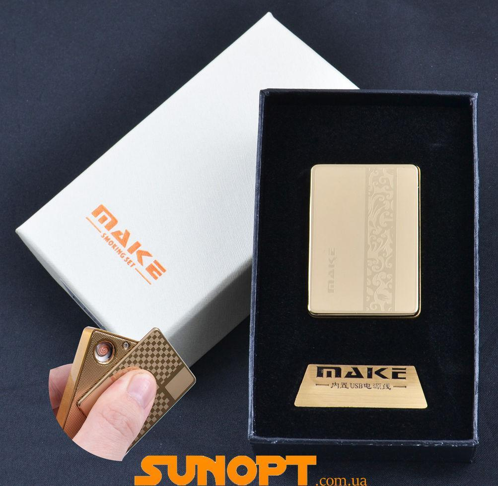 USB зажигалка-слайдер в подарочной упаковке MAKE (Спираль накаливания) №XT-4692-9