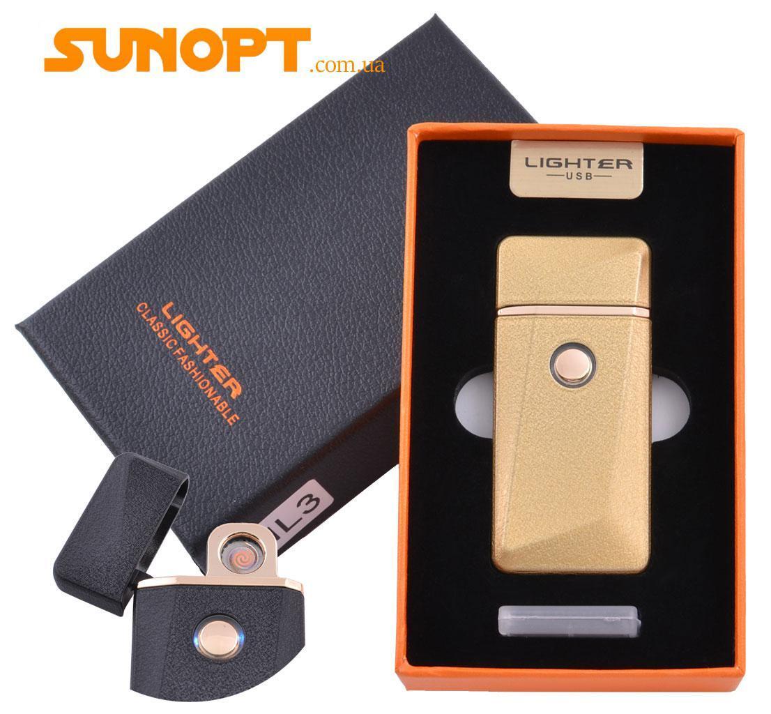 USB зажигалка в подарочной упаковке Lighter (Спираль накаливания) №HL-3 Gold