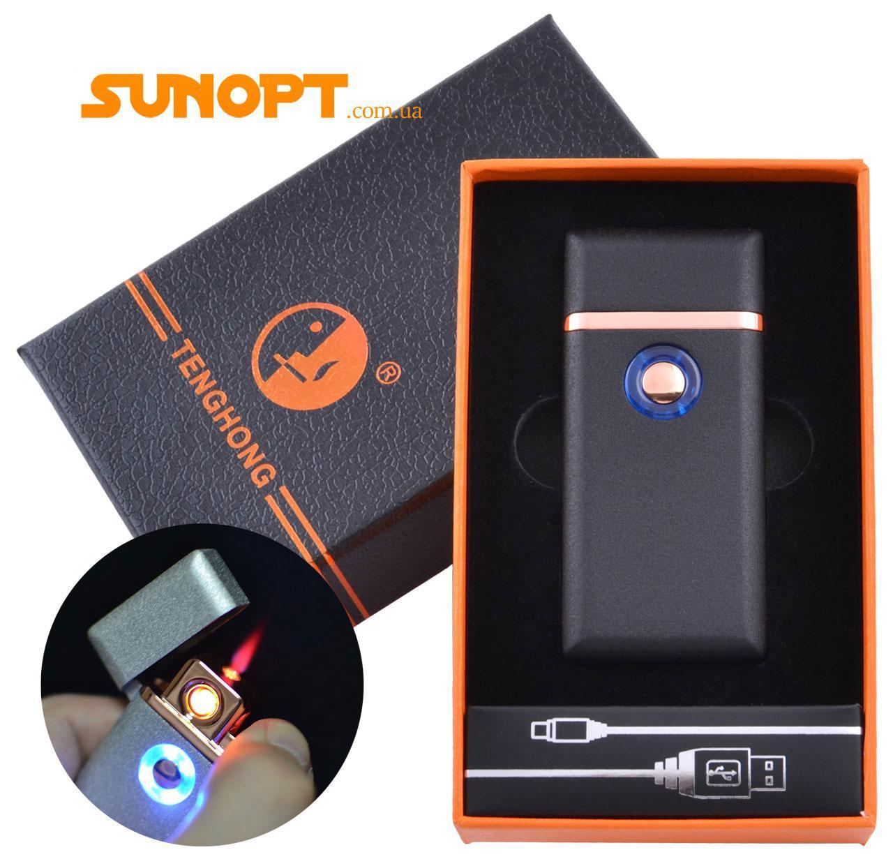USB зажигалка в подарочной упаковке Tenghong (Спираль накаливания, Турбо пламя) №HL-22 Black