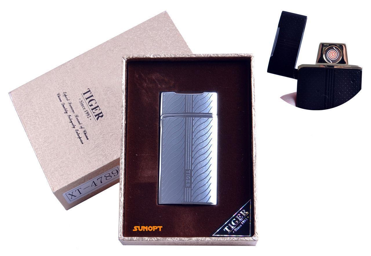 """USB зажигалка в подарочной упаковке """"TIGER"""" (Двухсторонняя спираль накаливания) №4789-1"""