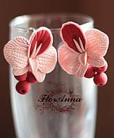 """Серьги из полимерной глины """"Пудровые орхидеи с ягодами"""", фото 1"""