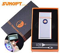 USB зажигалка в подарочной упаковке Tenghong (Спираль накаливания, Турбо пламя) №HL-21 Silver
