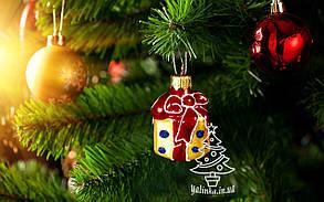 Стеклянная елочная игрушка Подарочек, фото 2