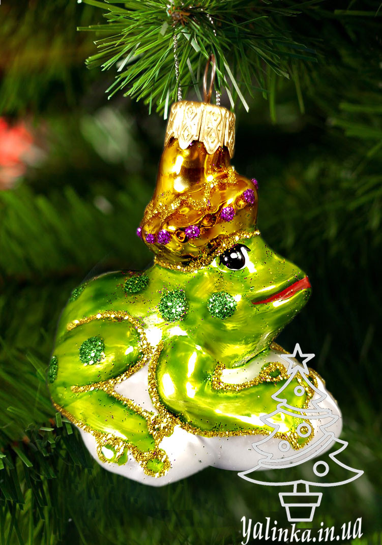 Стеклянная елочная игрушка Царевна-лягушка