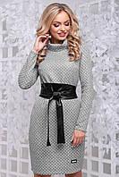 Теплое платье из фактурного трикотажа воротник хомут 42-50 размера серое, фото 1