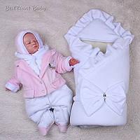 Зимний набор на выписку Мария+Little beauty конверт 90*90 см + человечек р. 62 ТМ Brilliant Baby Белый+розовый