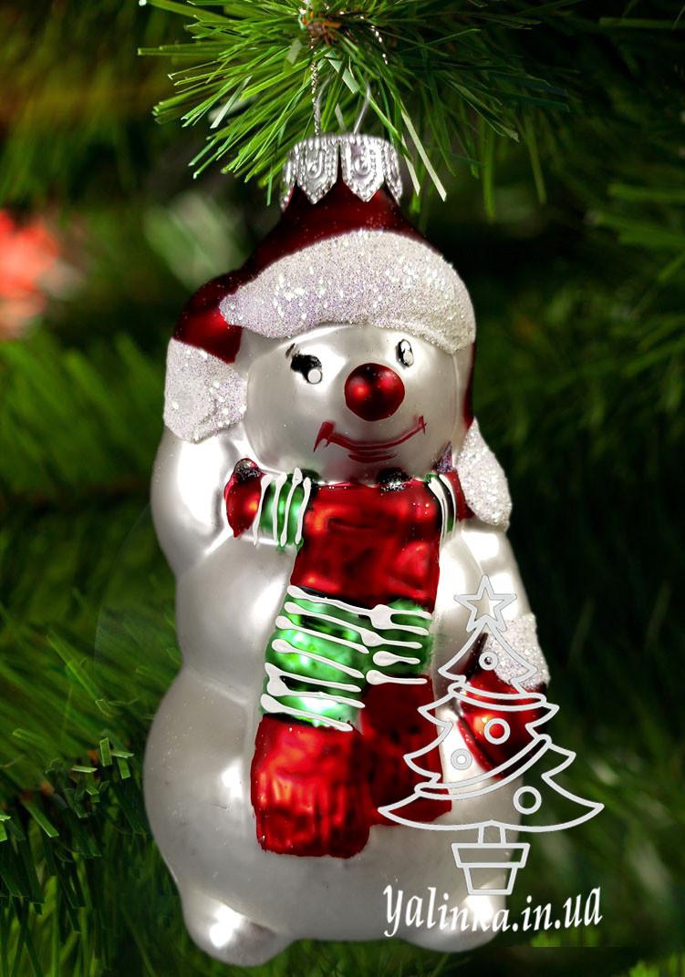 Скляна ялинкова іграшка Сніговик в шарфику