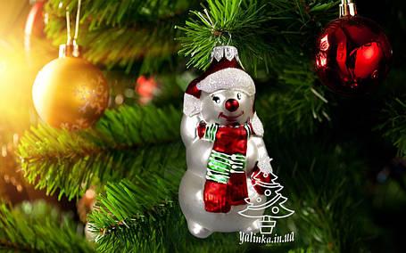 Скляна ялинкова іграшка Сніговик в шарфику, фото 2