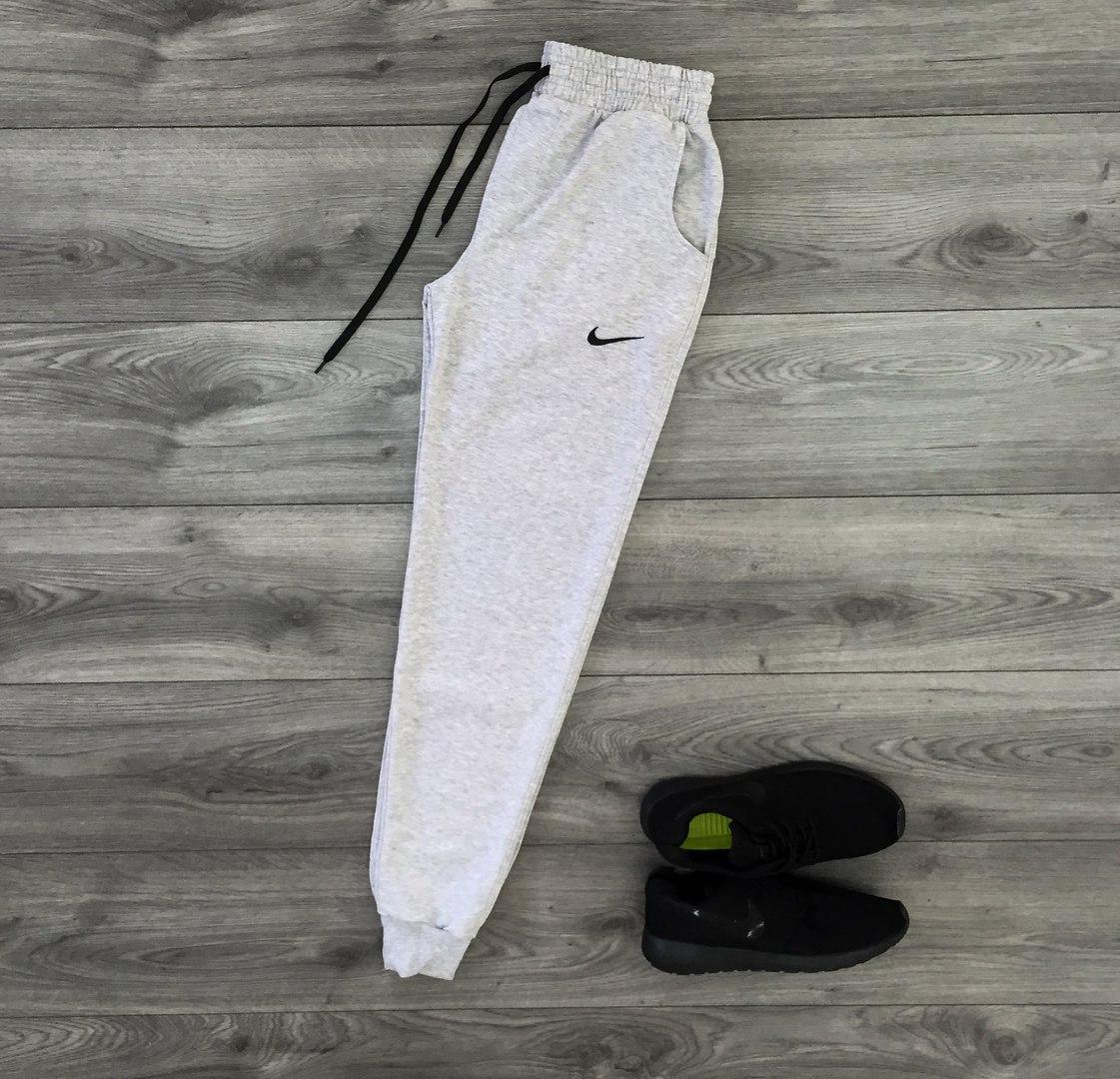 8848197f Мужские спортивные брюки штаны Nike Найк светло-серые на манжетах (реплика)